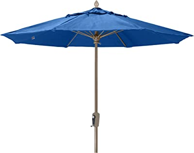 FiberBuilt Umbrellas 9MCRCB-8602 Market Umbrella, 9' Diameter Marine Grade Canopy, Pacific Blue