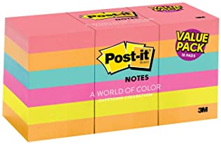 Post-it Notes, 1.5 in x 2 in, 18 Pads, 100 Sheets/Pad (653-18AU )