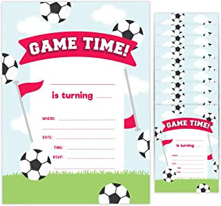 Soccer Style 2 Happy Birthday Invitations Invite Cards (10 Count) With Envelopes Boys Girls Kids Party (10ct)