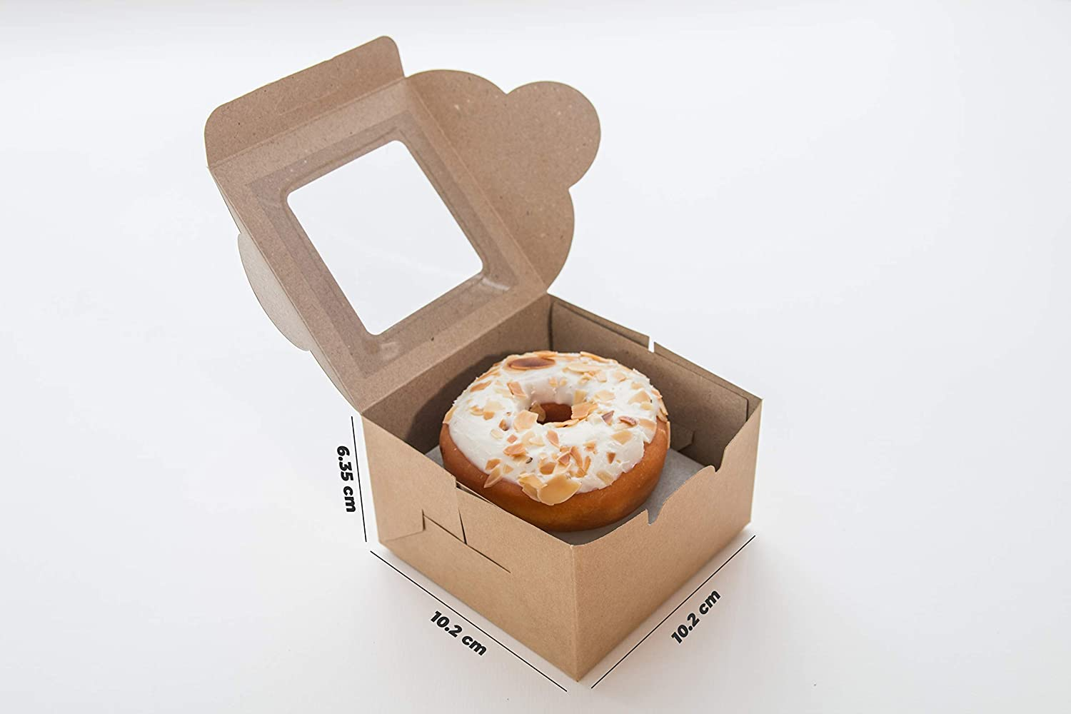 Brown Bakery Box with Window Party Box Cookies Donuts Bonus Hemp Rope Size 4x4x2.5 Inches Cake Box Made in Vietnam Small Treat Boxes Cupcake Pack 25 Perfect Size for Mini Cake
