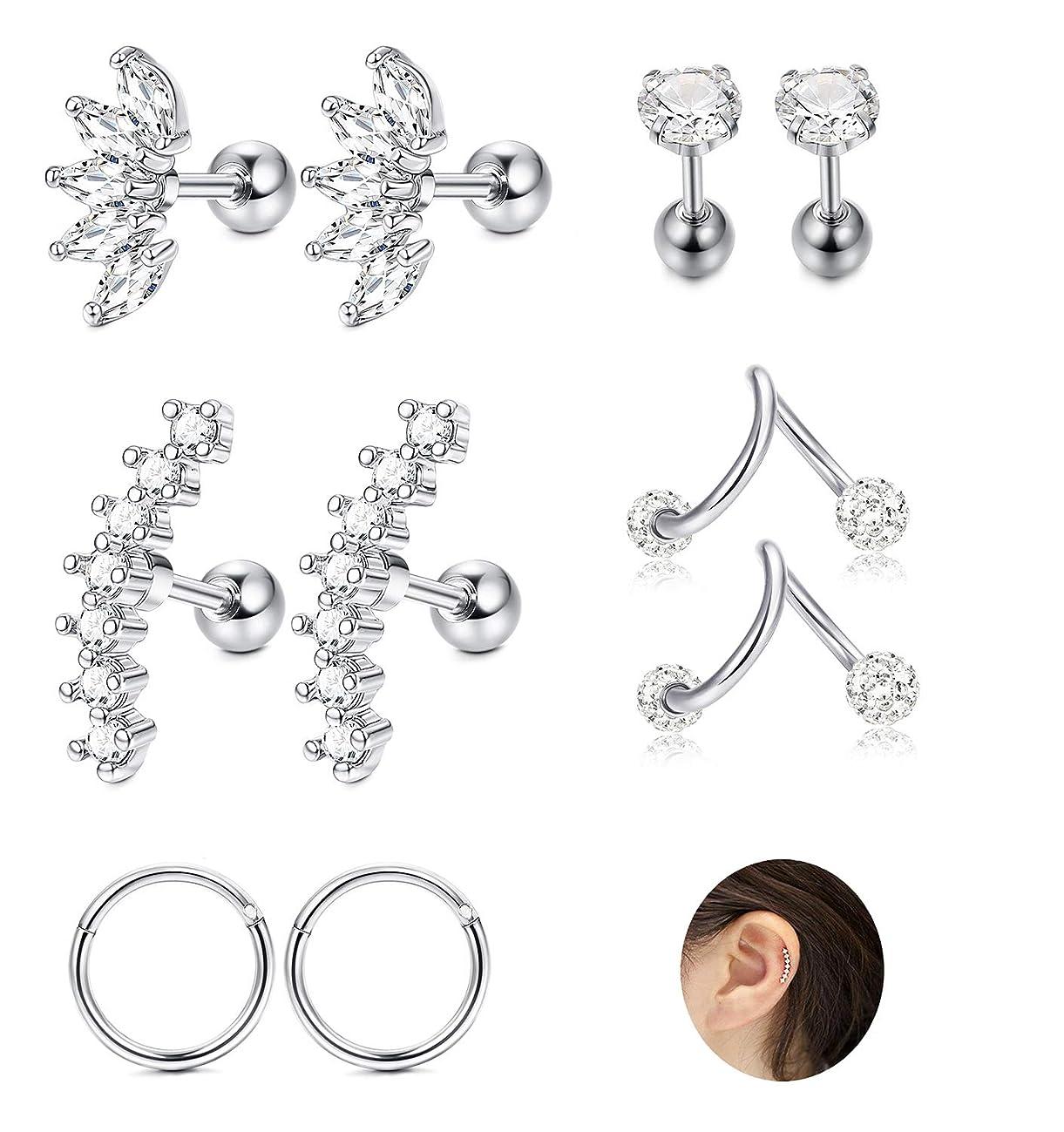 JOERICA 3 Pairs Stainless Steel Silver Ear Cartilage Earrings for Women Girls Tragus Helix Earring Cute Conch Flat Back Piercing Jewelry 16G