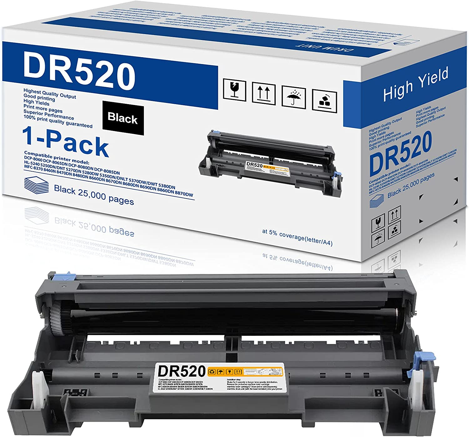 1-Pack Dallas Mall Albuquerque Mall Black Compatible Drum Unit DR520 Brother Replacement for