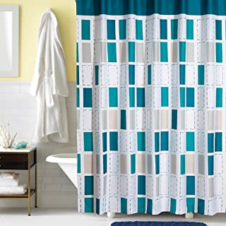 Ufaitheart Checkered Fashion Shower Curtain 72 x 72 Inch Polyester Fabric Decorative Shower Bath Curtains, Multi Color-Turquoise, White, Gray, Beige