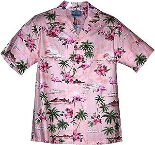 323242e03 RJC Men's Pink Flamingo Hibiscus Hawaiian Shirt