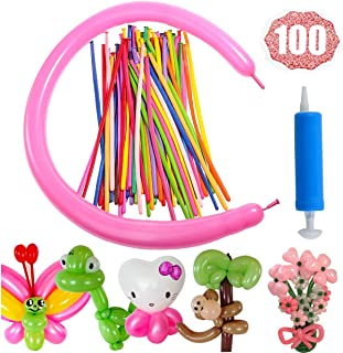 HoveBeaty Latex Twisting Balloons, 260Q Animal Magic Long Balloons Assorted Color with Pump for Animal Shape Party, Clowns, Wedding Decoration Party Supplies (100 Pack)