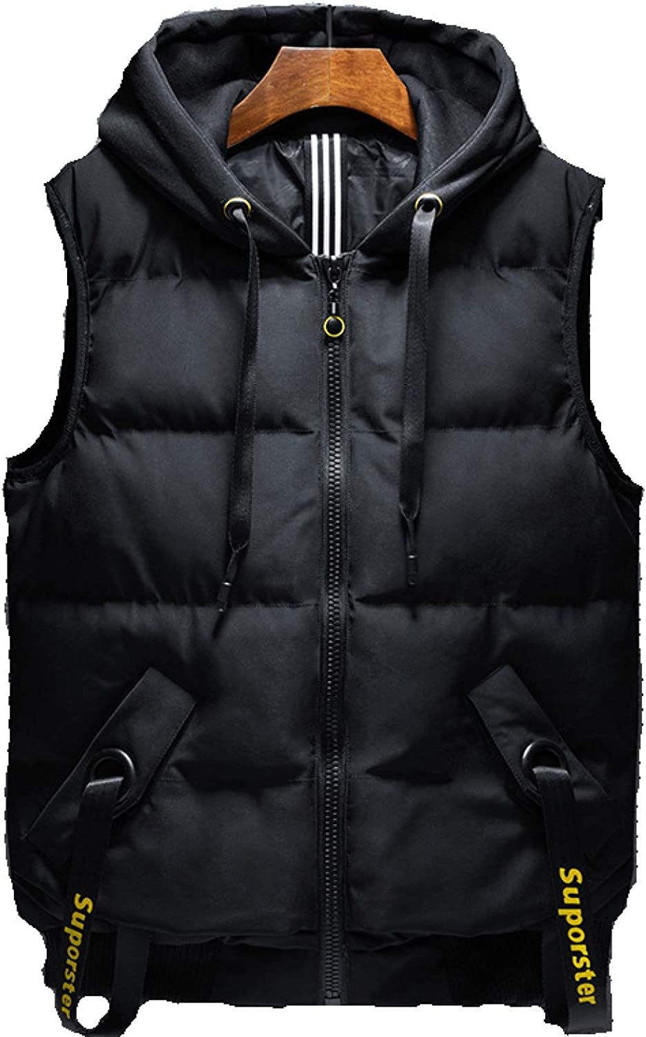 Men's Stand Collar Padded Down Vest Coats Puffer Sleeveless Outfit Zipper Pocket Outdoor Casual Waistcoat Jacket