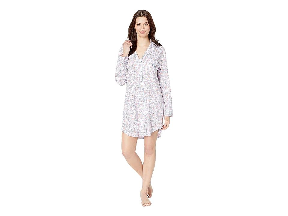 LAUREN Ralph Lauren Knit Notch Collar Sleepshirt (Multi Floral Print) Women