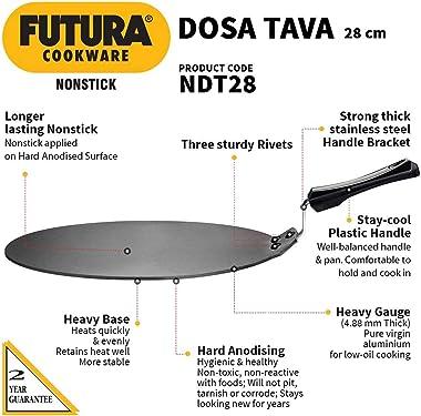 Hawkins Futura Non-stick Flat Dosa Tava Griddle, 11-inch,Black