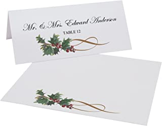 Christmas and Holiday Holly Swirl Place Cards, Set of 60