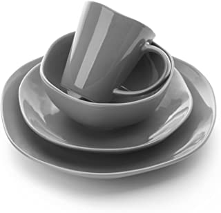 Le Tauci 4 Piece Ceramic Dinnerware Set, Place Setting Service One Person,Steel Gray