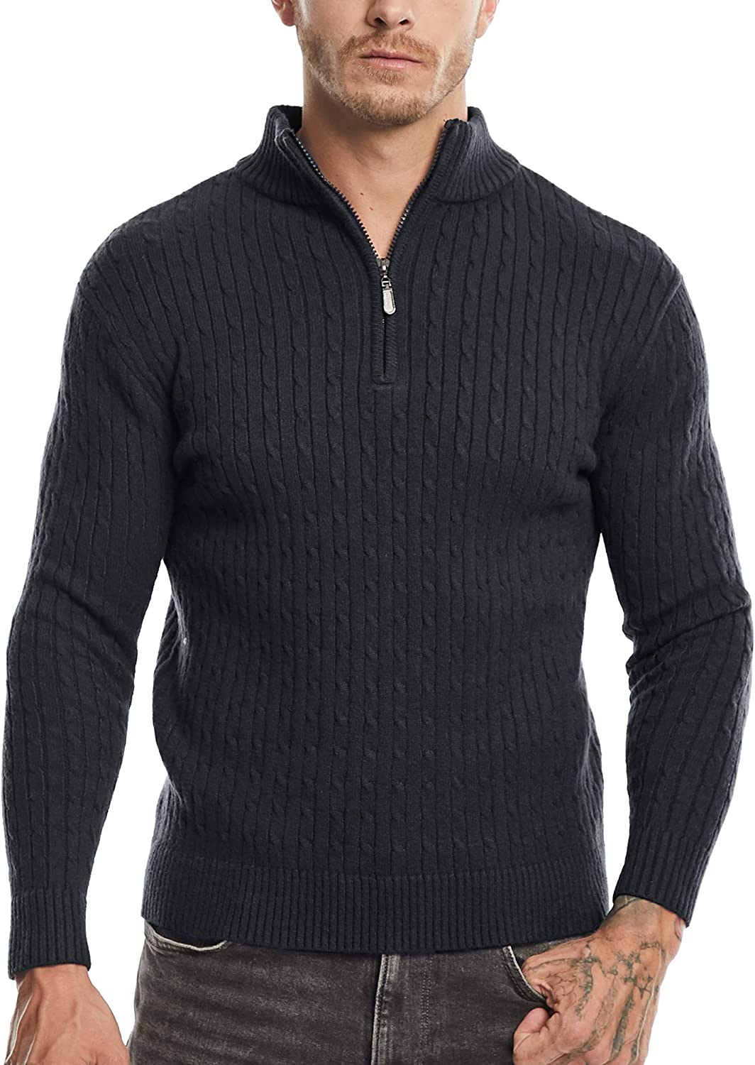SATINIOR Men's Casual Soft Mesa Mall Knit Long Sleeve Zip Mock Up Nec New product type