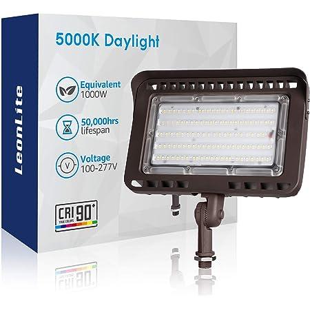 LEONLITE 100W LED Outdoor Flood Light Knuckle Mount, 1000W Eqv. 11,000lm Super Bright, CRI90+ Wall Washer, IP65 Waterproof, 5000K Daylight for Yard, Billboard