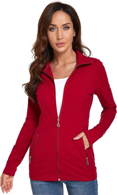 AmélieBoutik Women Collar Pockets Long Sleeve Casual Zip Jacket