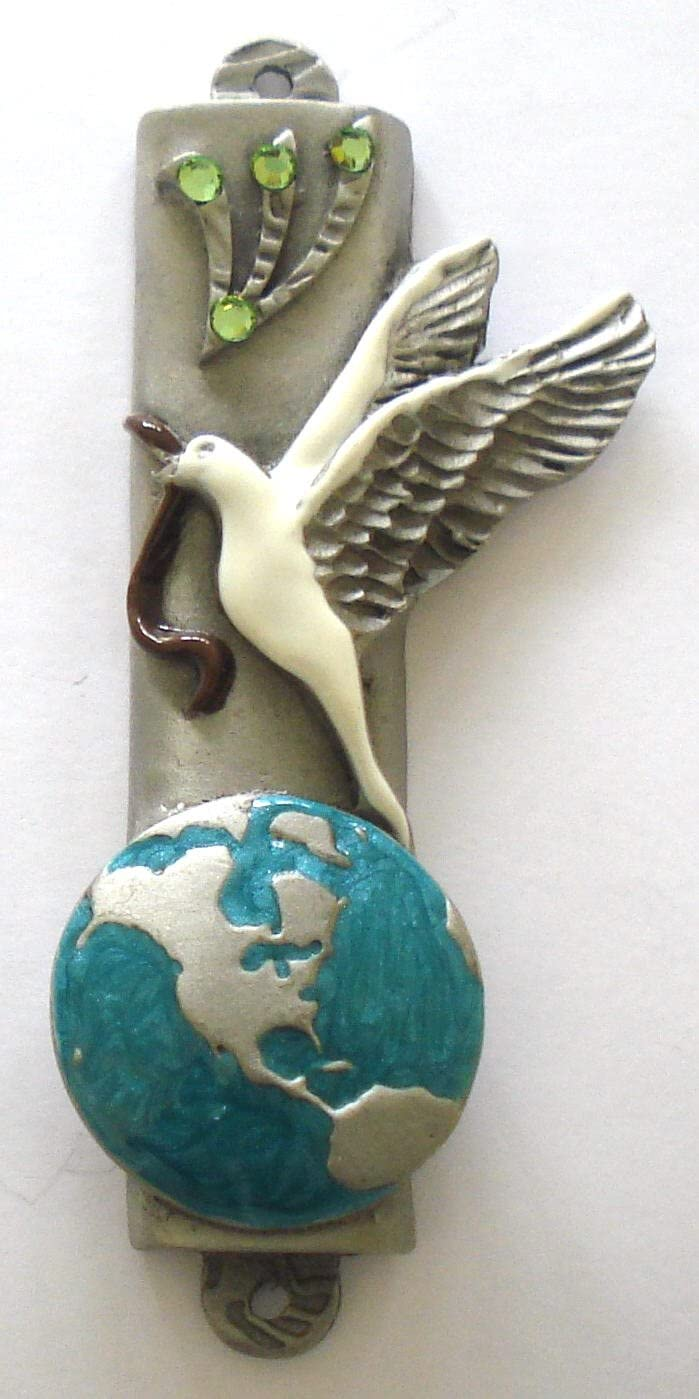 Bjcrystalgifts Peace Max 42% OFF Dove Mezuzah Handpainted Han OFFicial shop Pewter