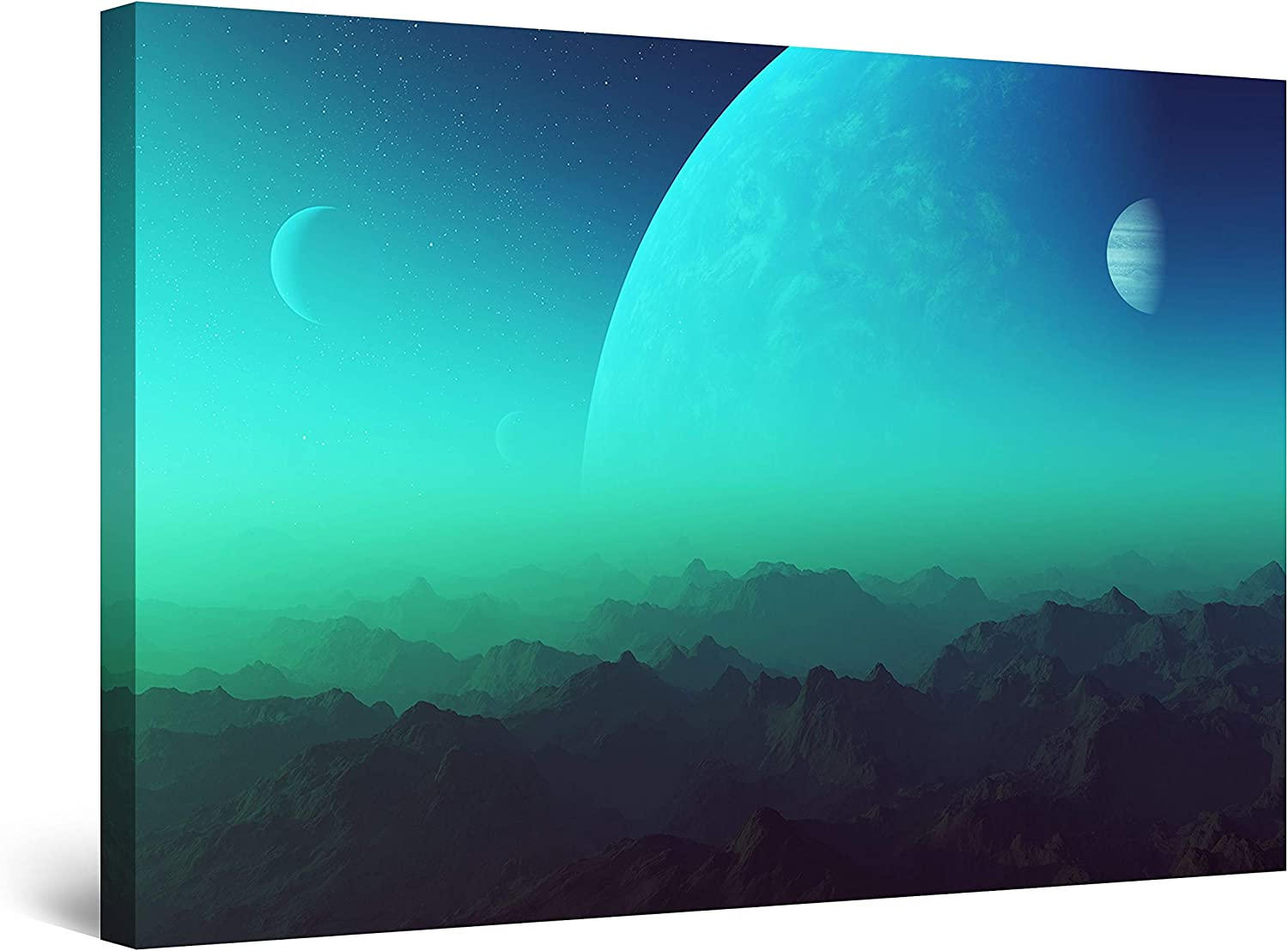 Startonight Canvas Wall Bombing free shipping Art Decor fo World New products, world's highest quality popular! Print Turquoise Foggy