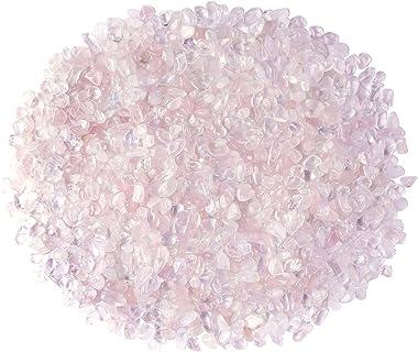 CrystalTears Natural Rose Quartz Tumbled Chips Stone Crushed Crystal Polished Irregular Shape Reiki Healing Quartz Crystal Gemstones for Home Decoration 0.45lb
