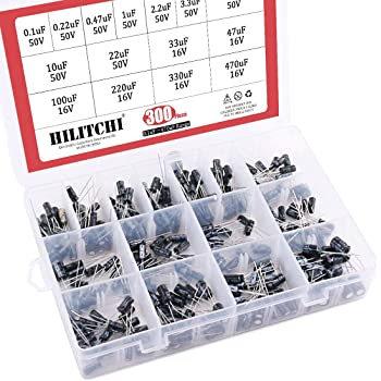 Hilitchi 15 Kinds Values 300pcs 0.1uF-470uF Range Electrolytic Capacitors Assortment Kit (50V and 16V)