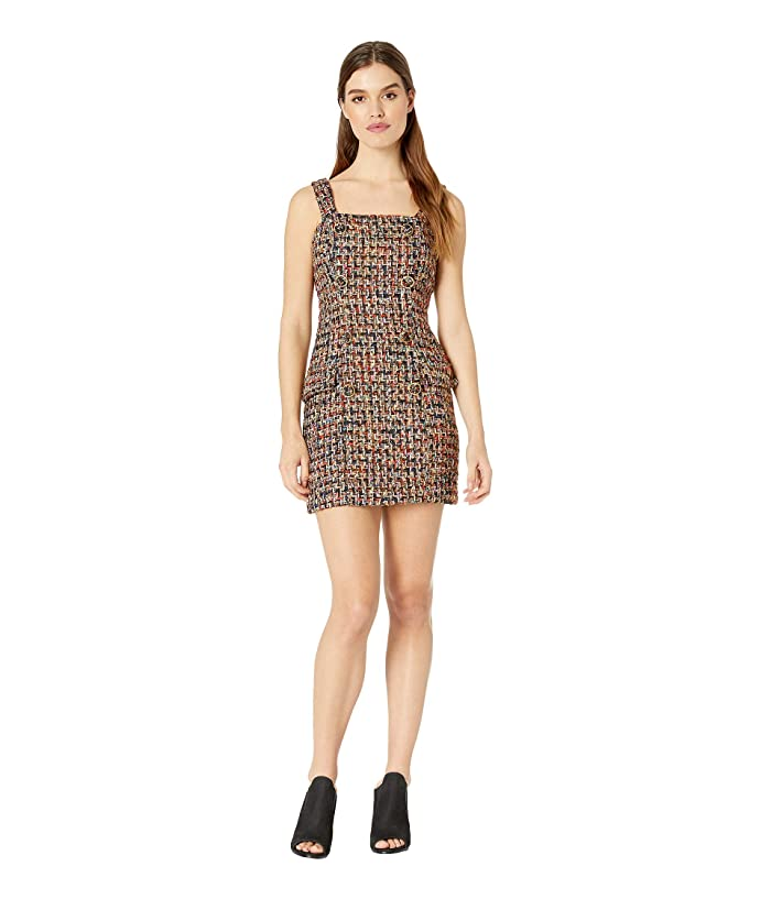 J.O.A. Tweed Mini Dress with Self Buttons (Black Tweed) Women