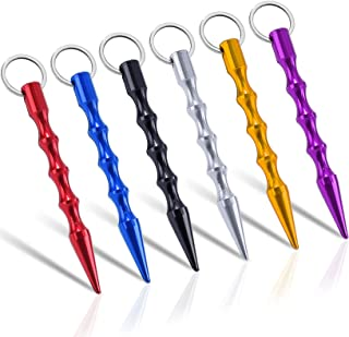 DUTY Keychain Kubaton Weapon Weapon Weapon Alum ابزار ضد گرگ Keyring برای زنان نوجوان مرد ایمن مولتی کالر 6 بسته