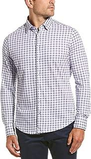 Stone Rose Men's Cotton Knit Geometric Check Print Long Sleeve Shirt
