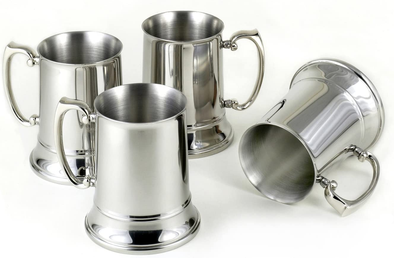 Set of 4 Stainless Steel Beer Mugs