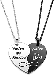 Jovivi Set of 2 Heart Necklace for Couples Black White Stainless Stee Matching Puzzle Best Friends Pendant Friendship Neck...