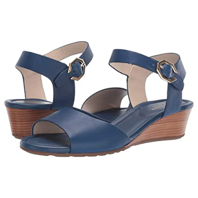 Cole Haan 40 mm Evette Grand Wedge Sandal (Navy Peony Leather) Women