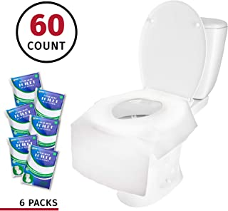 Banana Basics X-Large Disposable Paper Toilet Seat Covers | Potty Seat Covers | Flushable | Travel Friendly Packaging For Adult Use & Kids Potty Training | (6 Packs, 60 Count)