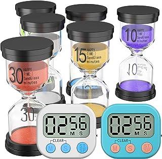 EXTSUD 8pcs Temporizador de arena de cristal de arena,6 colores,temporizador de arena,incluye 1 minuto,3 min,5 min,10 min,15 min,30 min reloj de arena y 2 temporizadores magnéticos digitales