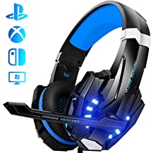 Auriculares Gaming PS4, Galopar Cascos Gaming, Premium Stereo con Microfono Gaming Headset con 3.5mm Jack para PC/Xbox One/Switch - con Gancho y 2 x Cable de Extensión-Azul