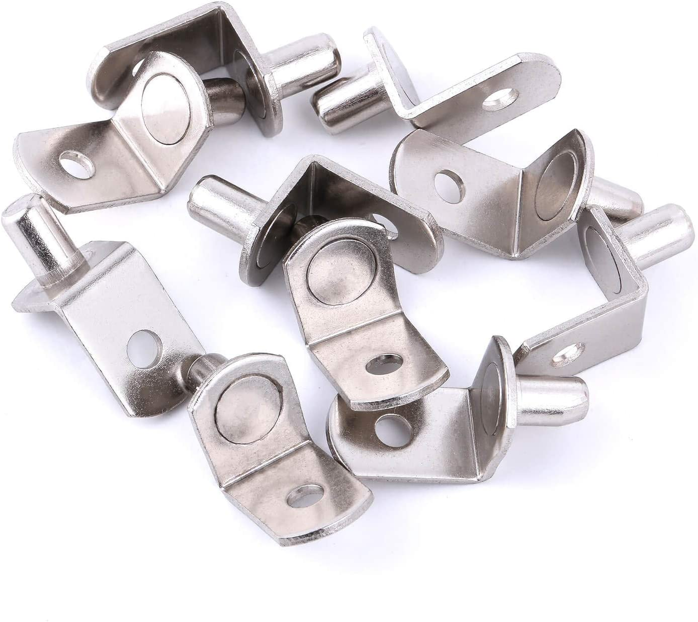 Nickel Polished 1//4 25pcs Kitchen Cabinet and Closet 6mm Cabinet Shelf Pegs L-Shaped Clips for Bookcase Shelf Pegs with Hole