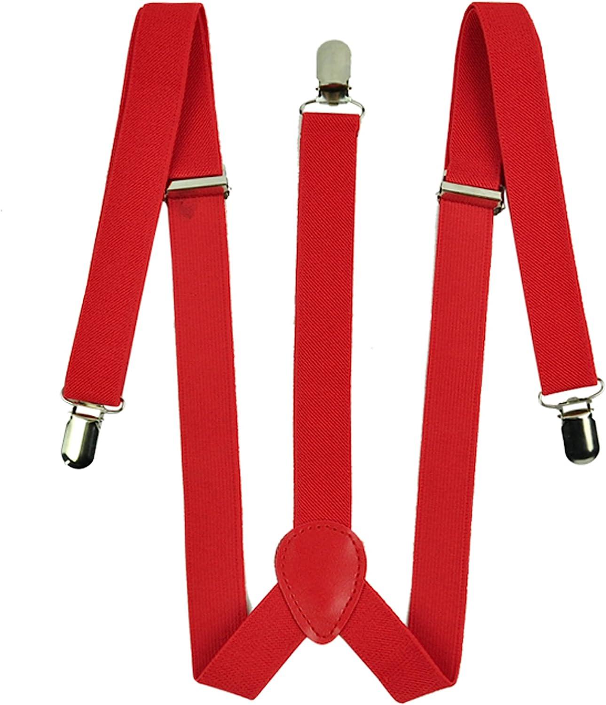 Zeagoo Men Women Clip-on Suspenders Elastic Red