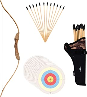 """UteCiA Complete Archery Set For Kids & Beginners – 34"""" Handcrafted Wooden Bow, 12 - Pc 18"""" Safety Rubber Tip Arrow Pack, Quiver, 10 Target Sheets – Outdoor and Indoor Shooting Toy For Aspiring Archers"""