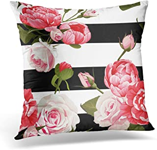 Emvency Throw Pillow Covers Colorful Floral Peony and Roses 2 Black and White Stripes Flowered Pink Abstract Decorative Pillow Case Home Decor Square 20