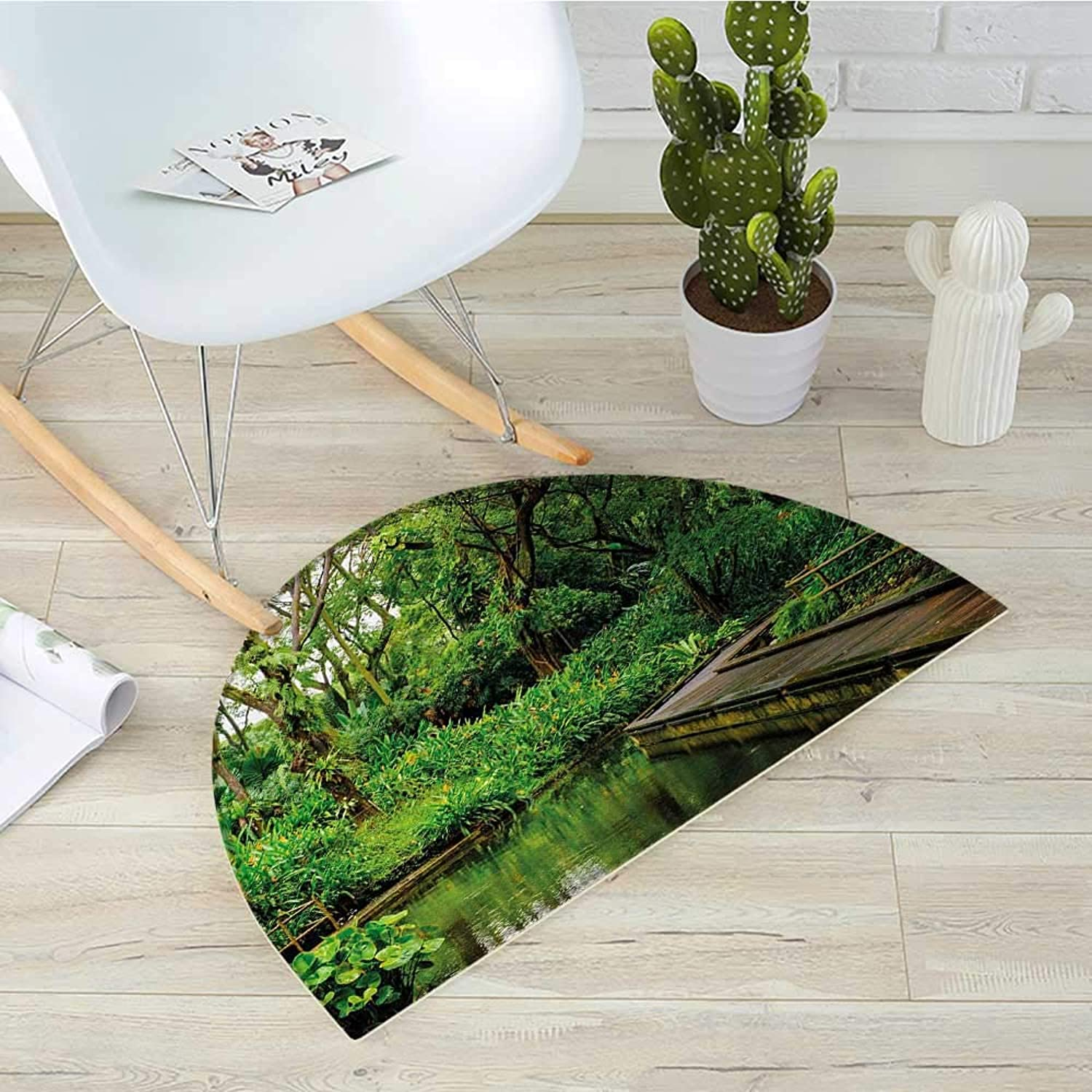 Jungle Semicircle Doormat Deep Forest with Wooden Pier and River Refreshing Exotic Nature Wild Image Halfmoon doormats H 39.3  xD 59  Hunter Green Brown