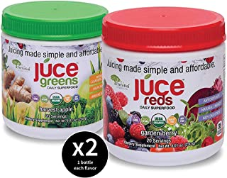 JUCE Reds and Greens Superfood Two Packs   Natural Energy & Detox Blends   Certified USDA Organic 20 Servings Per Container - 2 Pack (Garden Berry and Harvest Apple)