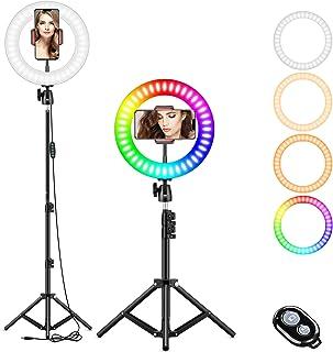 10 tums Selfie-ringlampa med stativ och telefonhållare, RGB LED makeup ringlampa för live stream/TikTok/fotografi/videoins...