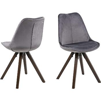 AC Design Furniture Nadia Chaises de salle à manger, Tissu, Dark greyDark greyWood, L: 55 xl: 48,5 x H: 85 cm
