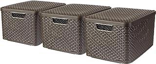CURVER |Lot de 3 boîtes L STYLE + couvercles, Aspect rotin, Marron foncé, Plastique