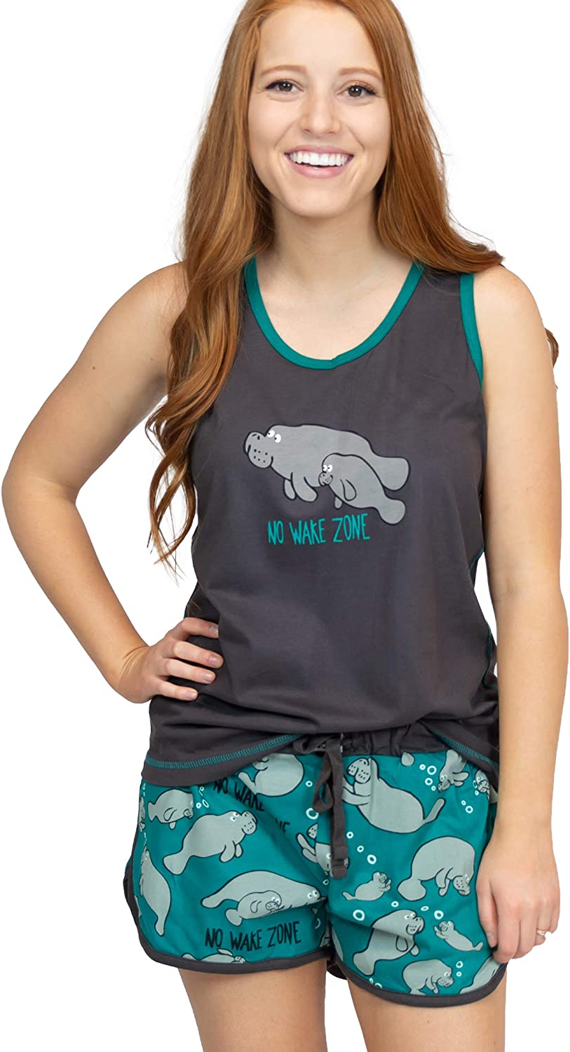 Lazy One Matching Pajamas for Women, Cute Pajama Shorts and Tank Top Set