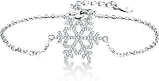 EVER FAITH 925 Sterling Silver CZ Elegant Winter Snowflake Link Bracelet Hand Accessory Jewelry for Women