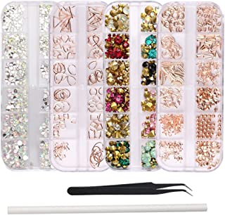 WOKOTO 4Pcs Nail Crystals And Rhinestones Rose Gold Metal Stud Nail Art Sharp And Flat Base Rhinestones Kit With Tweezers And Rhinestone Picker Pencil
