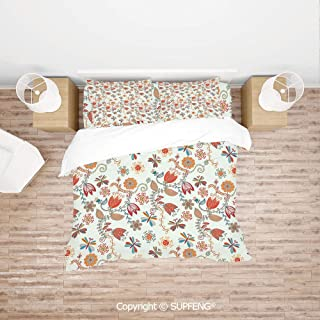 SCOXIXI Bed Cover Set Cute Tulip Floral Blossom Ornate Pattern with Butterflies Artsy Illustration Decorative (Comforter Not Included) Soft, Breathable, Hypoallergenic, Fade Resistant