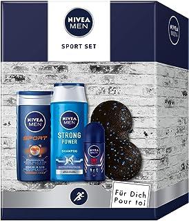 NIVEA Zestaw upominkowy dla mężczyzn z kąpielą pod prysznic, szampon, antyperspirant i piłka do powięzi, zestaw dla zadban...