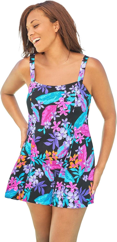 Swimsuits For All Women's Plus Size Princess-Seam Swim Dress Swimsuit