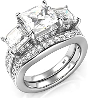 Sterling Silver 3 Carat Princess Cut Cubic Zirconia CZ Wedding Engagement Ring Set Size 4 to 11