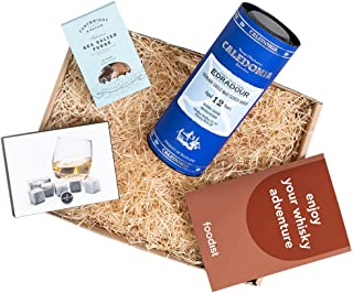 Foodist Whisky-Set Box Edradour 12 Jahre Caledonia Single Malt Scotch 0.7l im Geschenkset - Whisky Steinen und Sea Salted Caramel Fudge inkl. Booklet mit Tasting Tipps - Whisky Geschenkbox