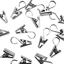 Super Z Outlet Heavy Duty Satin Nickel Curtain Clips w/Hook for Photos, Showers, Bedroom, Living Room, Home Decoration, Arts & Crafts, 1.5
