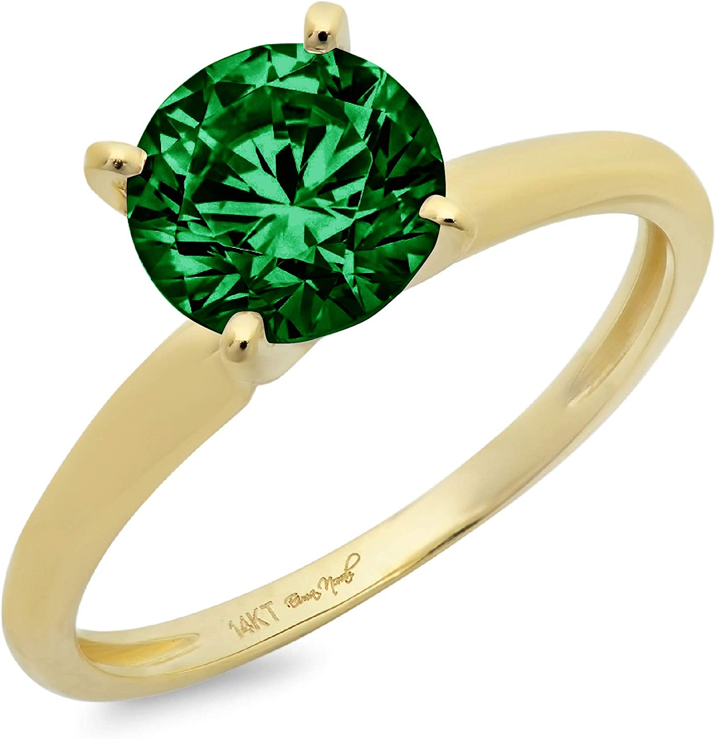 1.9ct Brilliant Round Cut Solitaire Flawless Simulated Cubic Zirconia Green Emerald Ideal VVS1 4-Prong Engagement Wedding Bridal Promise Anniversary Designer Ring in Solid 14k Yellow Gold for Women