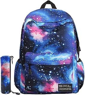 Galaxy School Backpack, SKL School Bag Student Stylish Unisex Canvas Backpack Book Bag Rucksack Daypack for Teen Kids (Blue with Pencil Bag)